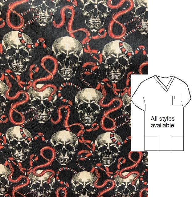 strictly skulls and snakes unique print scrubs men biker