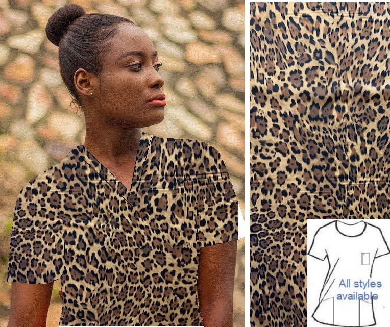 faux leopard animal print scrubs