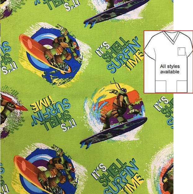 CART111814 - Ninja Turtle Shell Surfin - Cartoon Pediatric Scrub Tops