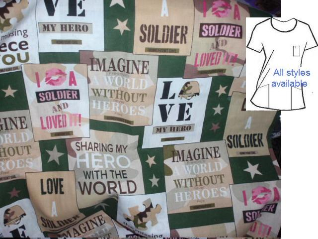 love my soldier - military patriotic scrub tops