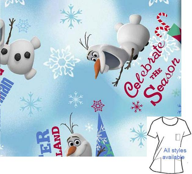 CART1010 - Olaf Winter Wonderland -Frozen Cartoon Print Scrubs