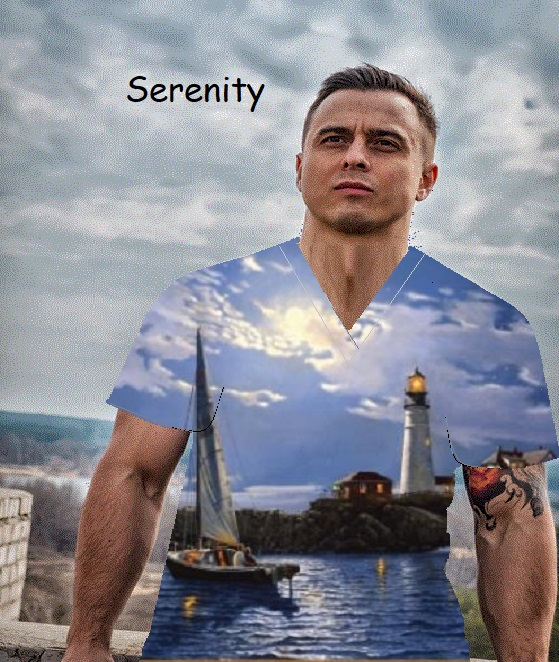 serenity unique print scrubs