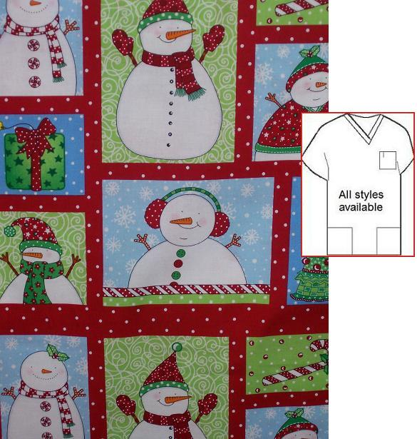 frozen snowmen holiday print scrubs