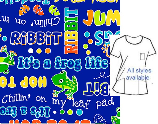 AAC111420 - Toadally Happy Frog animal print scrubs