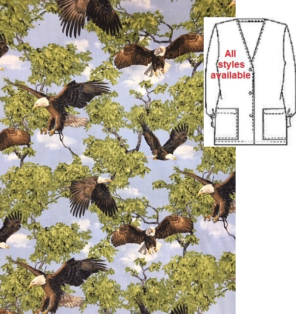 ANAW15191008 - Majestic Bald Eagles - animal print scrubs