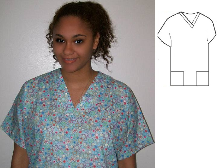 RM04527S - Funky Flowers print scrubs for women