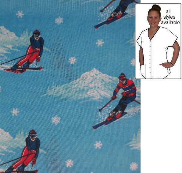 Snow Skiing On Your Sports Print winter Scrubs