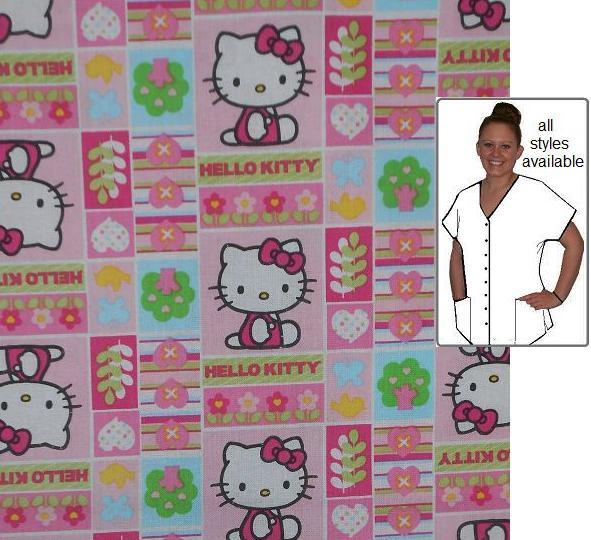 CARTGIRU10057 - Hello Kitty Cartoon Print Scrub Tops