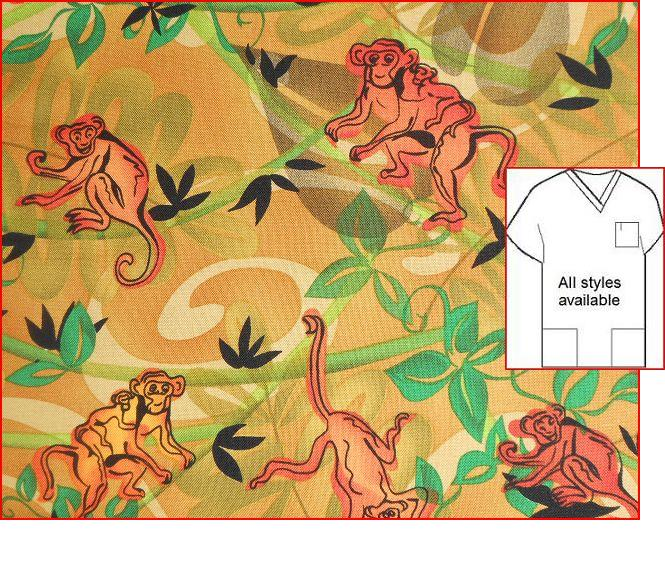Monkey Business animal Print Scrub Tops