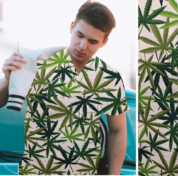 BKUP5757AH - Cannabis Herb unique print scrubs