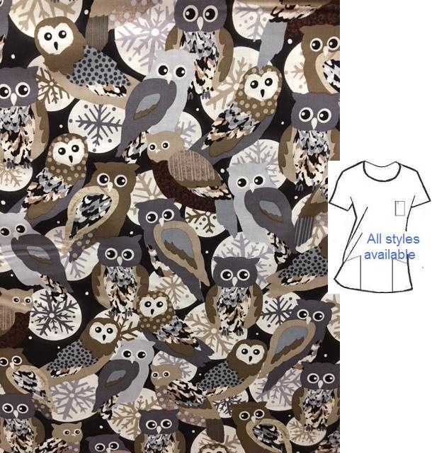 AO7718842 - Hooters animal print scrub tops with owls