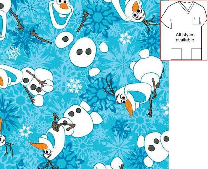 CARTH122814SPC - OLAF FROZEN Character Holiday Scrubs
