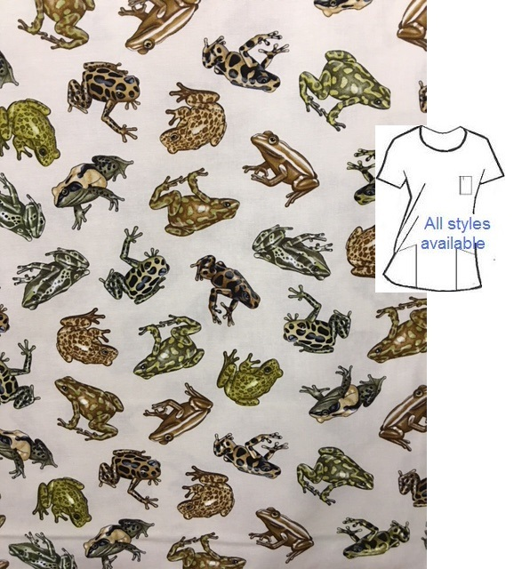 WW101517334A - Tailless Amphibians  animal print scrubs - frogs