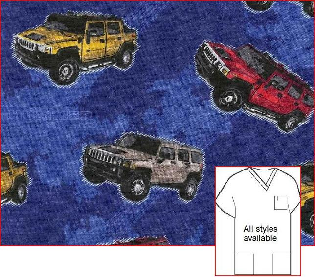 M11213 - Hummer --Print Scrub Tops for men
