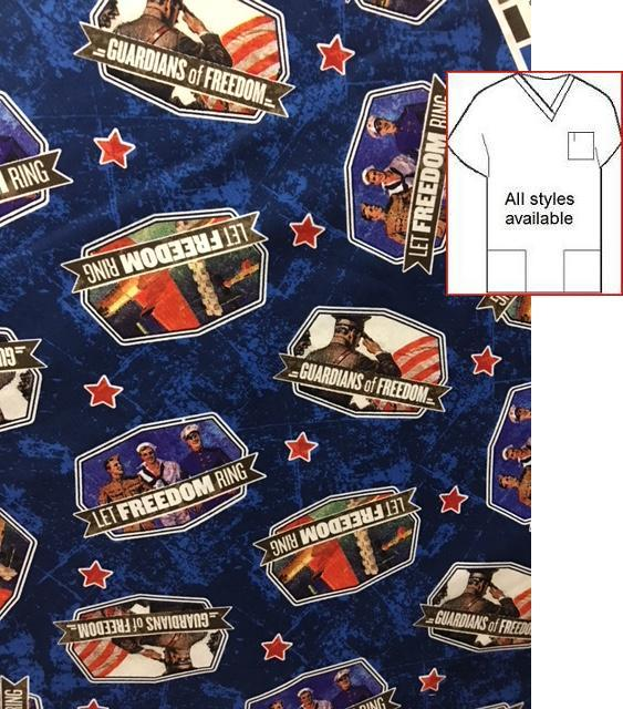 ABK16384203RK - Majestic Bald Eagles -on patriotic print scrubs