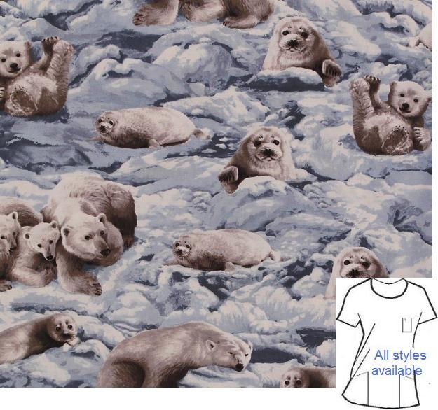AA71916ES - Harp Seals -Arctic Wildlife Animal Print Scrubs