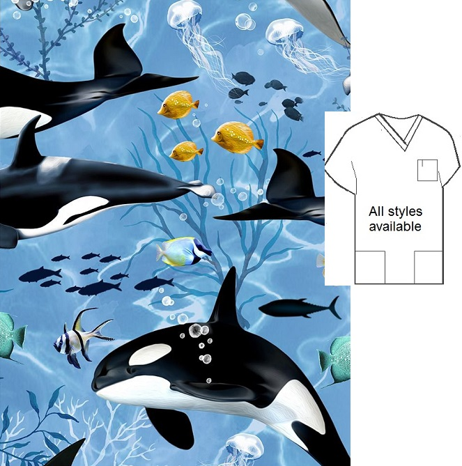 AO71220TTFAB - Orcas animal print scrubs