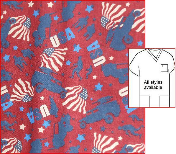United We Stand - patriotic print scrubs
