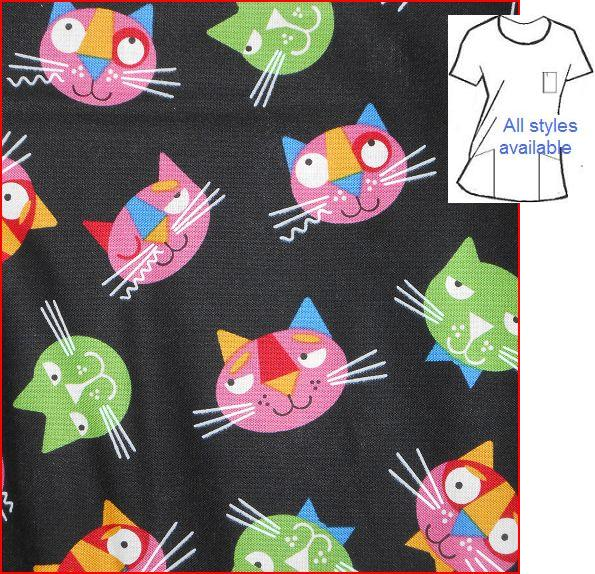 cat winks custom made veterinary print scrub tops