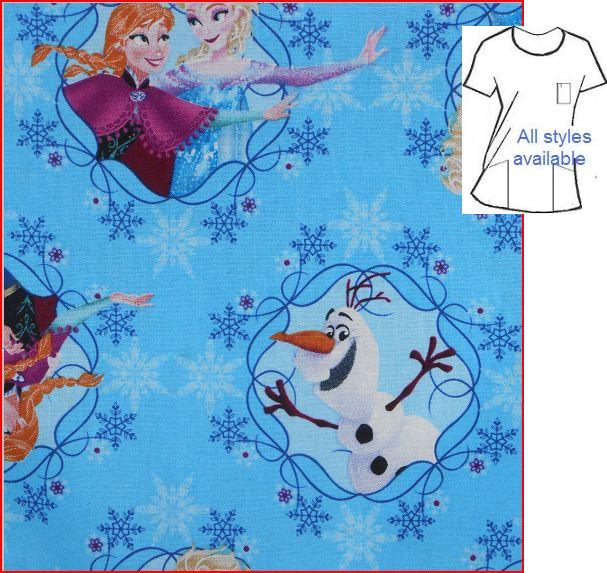CART1003 - Frozen Framed - Cartoon Character Print Scrubs