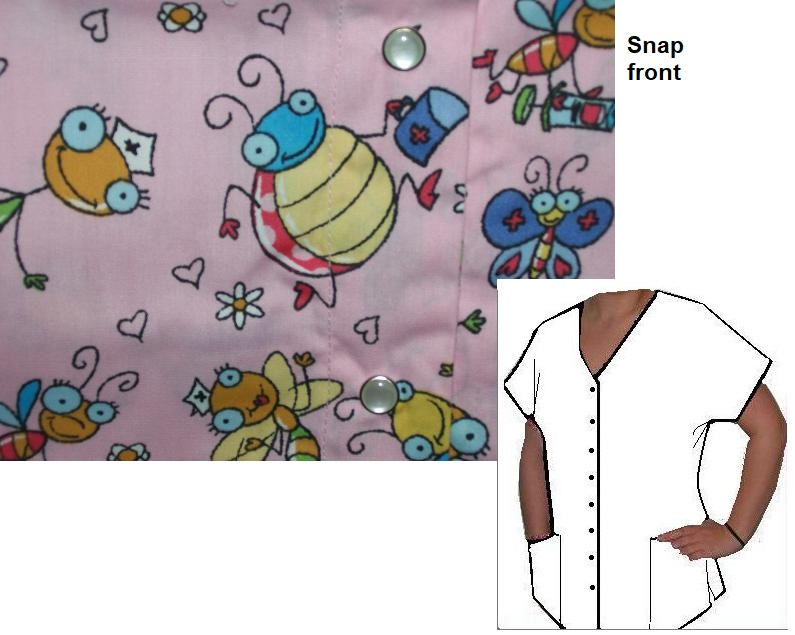 12210A - Large - Bug Nurse - Snap Front scrub top