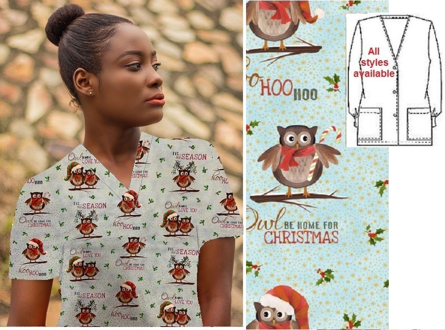 HO71014 - Owl Be There- holiday Christmas print scrubs