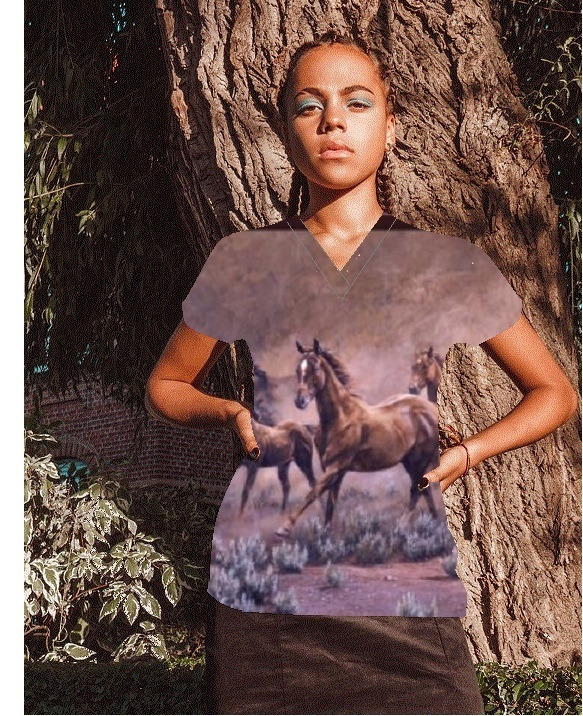 AH116F2SC - Rivers Bend -- Horse Animal Cotton Print Scrubs