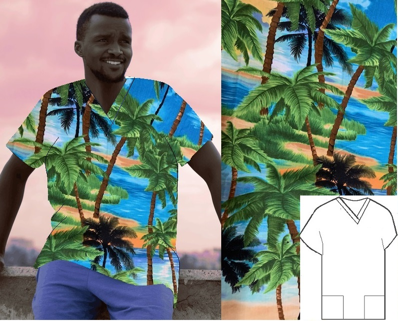 RM101117149SM - Tropical Breeze - print scrubs for men and women