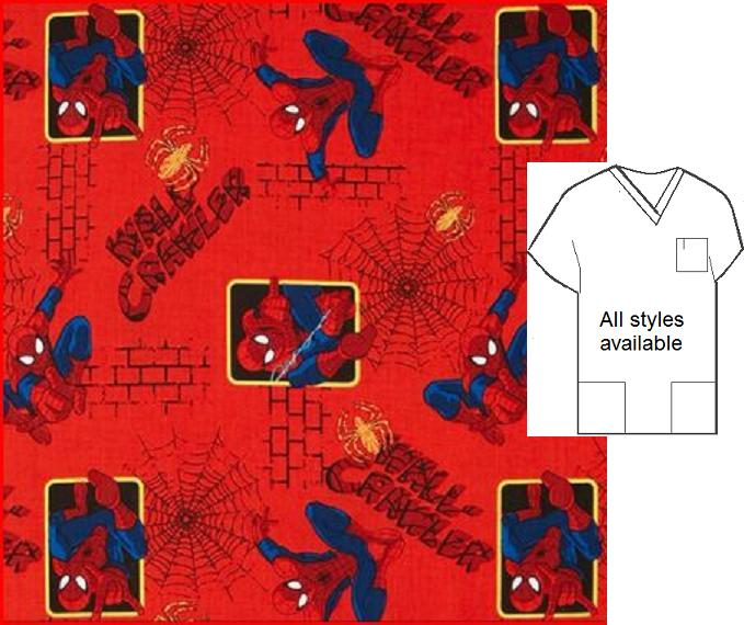 CART41715805 - Spider-man Wall Crawler Cartoon Scrubs