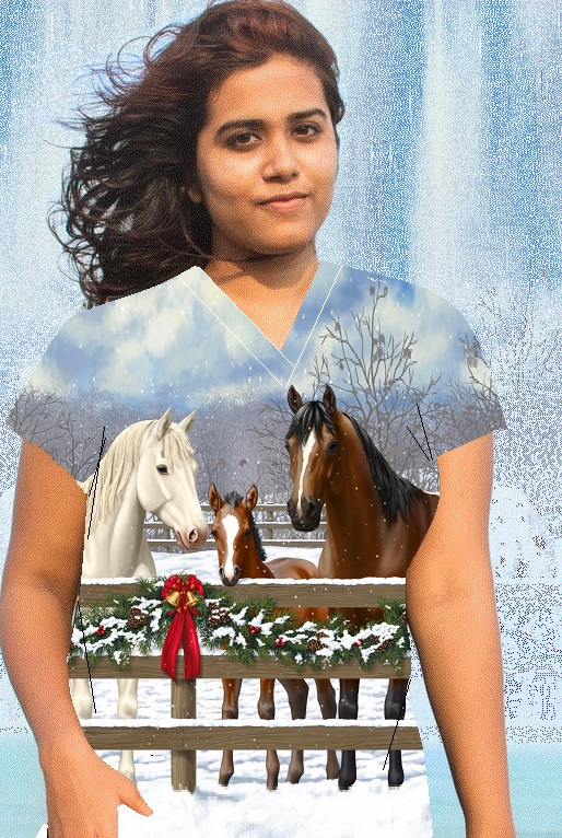 horse family portrait holiday Christmas scrubs