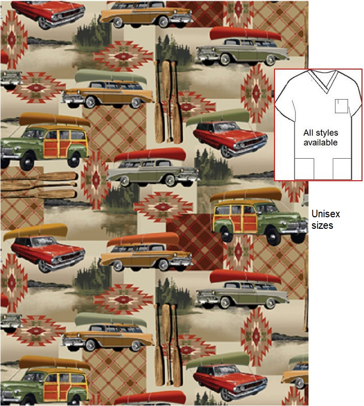 lodge life print scrubs for men