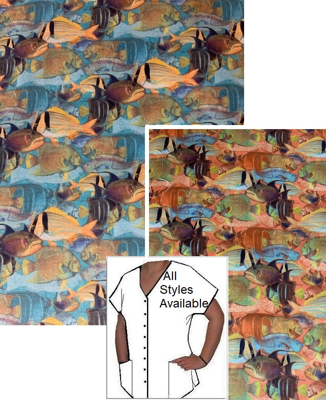 AO3120 - Fish Of Bali - tropical animal print scrubs