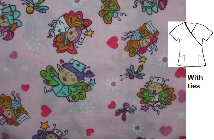 C1983RM - Large - Fairy Nurses - womens print scrubs