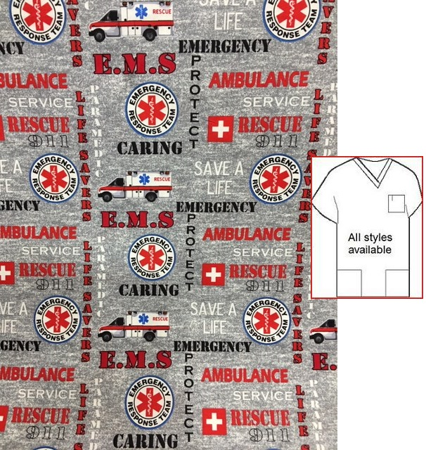 emergency room print scrubs men hospital