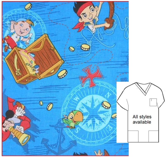 CART81314 - Jake In Neverland-Cartoon Pediatric Scrubs