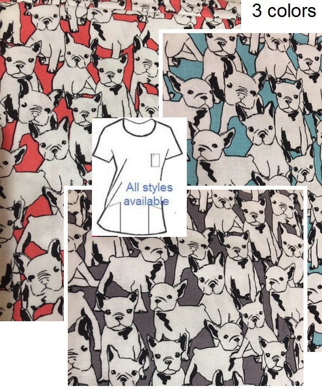 viva la frenchie bulldog scrub tops