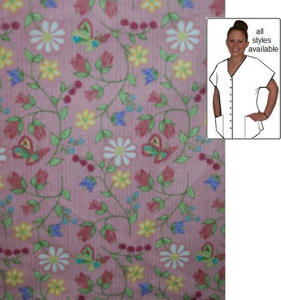NG14304 - Flowers on Pink cotton custom made scrubs