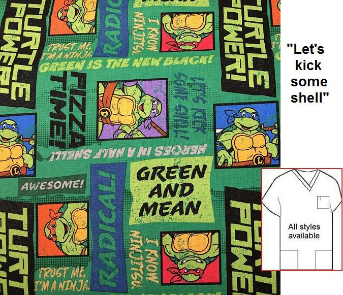CART101014 - Ninja Turtle Green Mean - Cartoon Print Scrubs