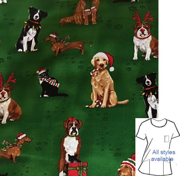 HC917824 - It's A Doggie Christmas - Holiday Print Scrubs