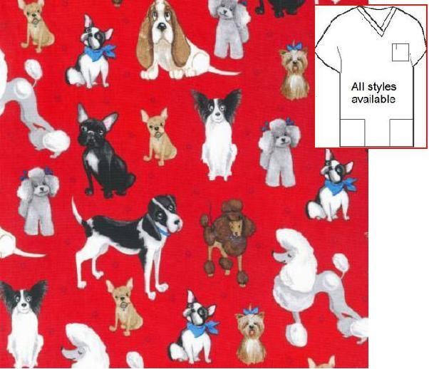 VET192KAUF - Whiskers N Tails Dog Print Scrubs On Red