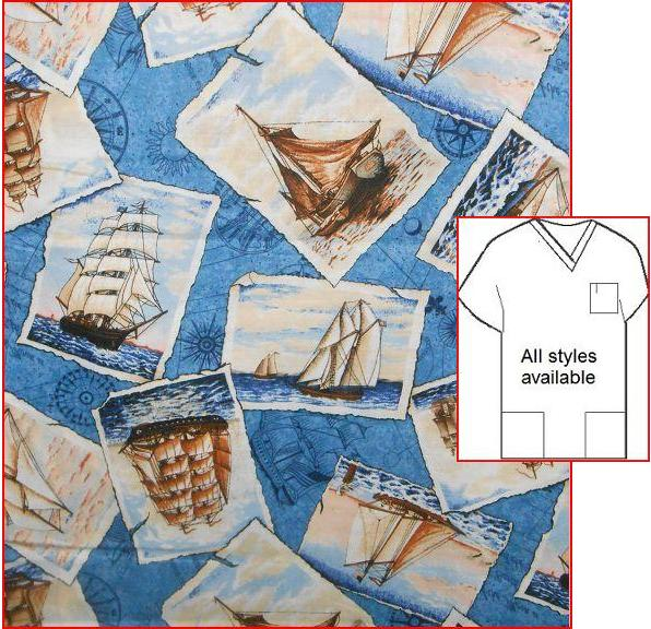 AO1815 - Historical Sailboats Nautical scrub tops