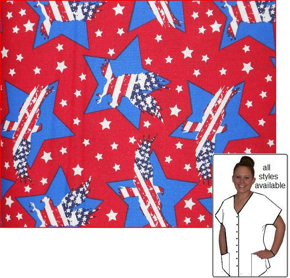 PAT102414 - Stars And Stripes Forever - Patriotic Scrub Top