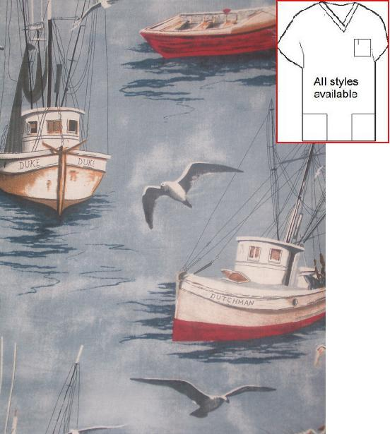 AOM4414MARSHDG - Dutchman Harbor - Nautical Print Scrubs