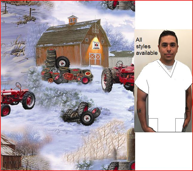 Farmall tire barn print scrubs for men