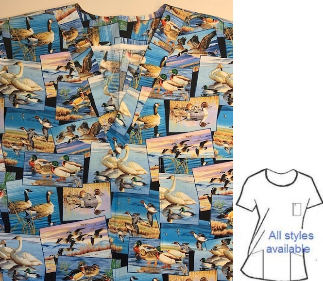 waterfowl rescue animal print scrubs