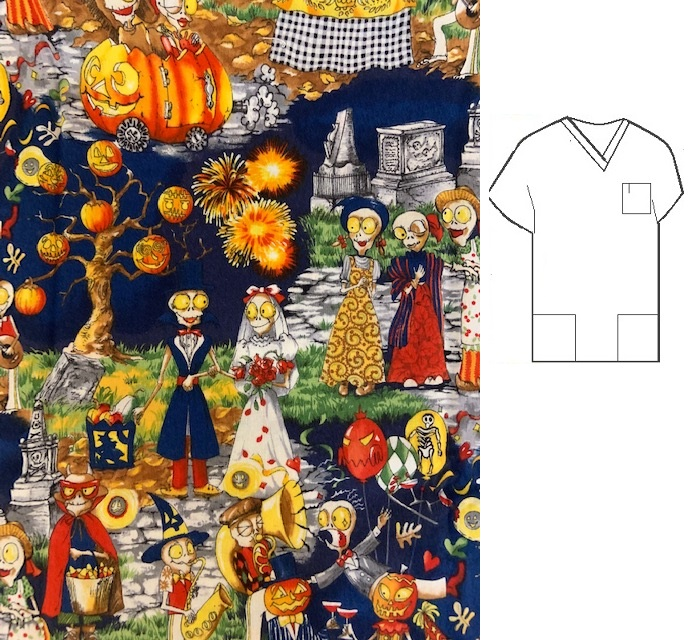 RM102914C - Love Is In The Scare - Ready Made Halloween Scrub Tops