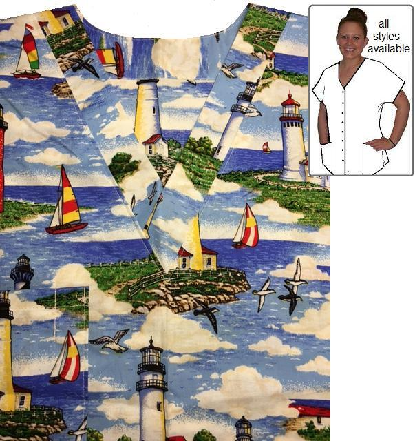 MAO1215 - Lighthouse Off The Coast - Custom Made Scrubs
