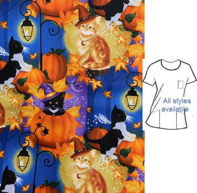 felines of fall halloween print scrub tops
