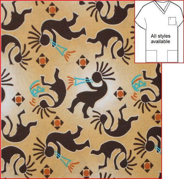 IN41015911 - Southwest Kokopelli Print Scrub Tops - Sand