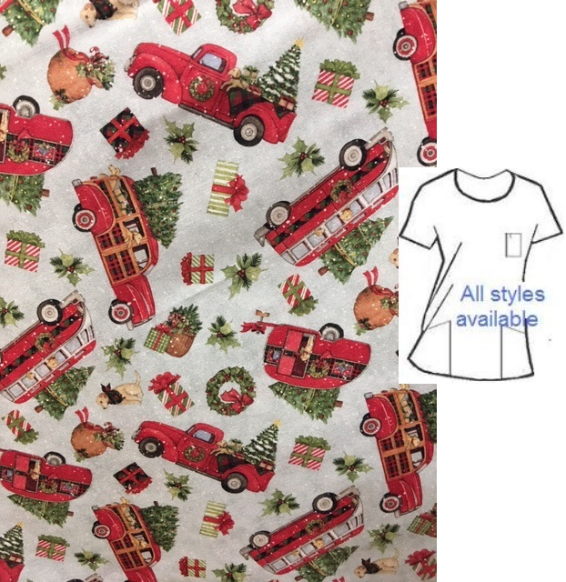 lil red truck holiday print scrubs